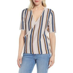 NWT Nordstrom Caslon Faux Wrap Striped Sweater Top